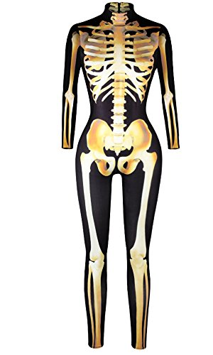 F Style Skeleton Skull Halloween Costume for Women 3D Rompers Jumpsuit Tight Slim Sexy Bodysuit Yellow -