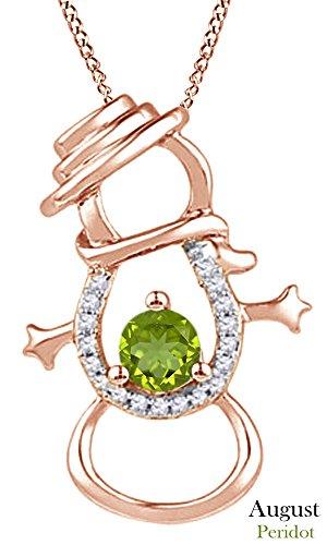 Simulated Peridot & Natural Diamond Accent Snowman Pendant Necklace