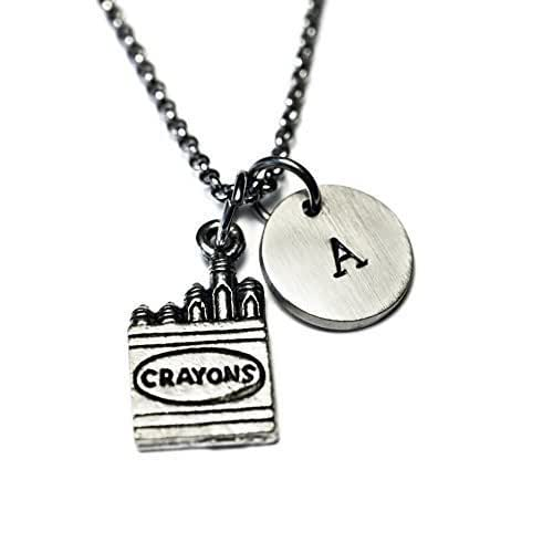 e9adc4395b84 Amazon.com  Antique Silver Plated Pewter Crayon Box Necklace ...
