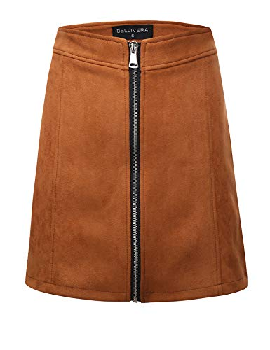 Bellivera Women's High Waist Faux Suede Mini Short Bodycon Skirt for Spring