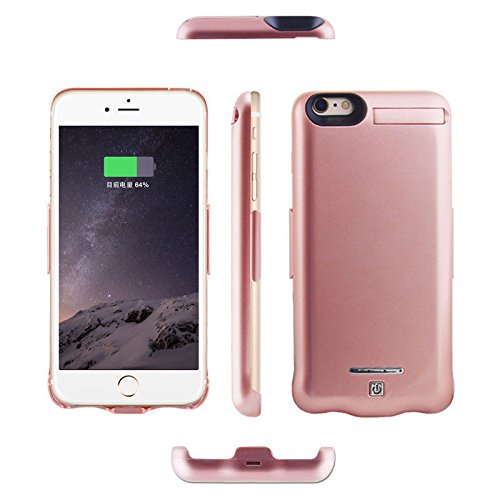 iPhone 6S Case, Purpplex iPhone 6S Battery Case, Luxury 10000mAh Portable Slim Fashionable PowerBank Rechargeable Protective Thin Battery Backup Case for iPhone 6S - Rose Gold