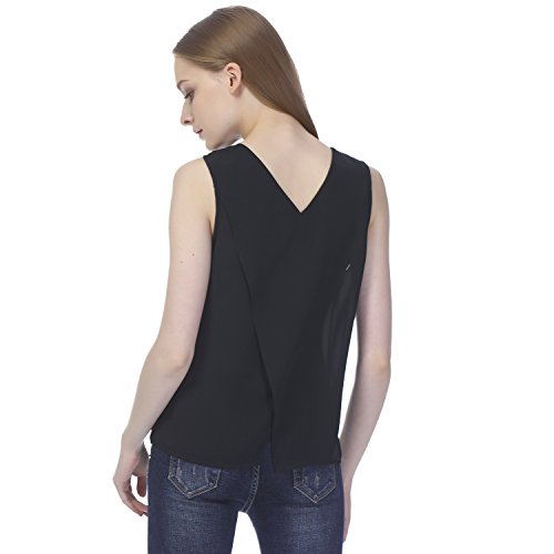 Essentialist-Womens-Silky-Crepe-Crossover-Back-Shell-Blouse