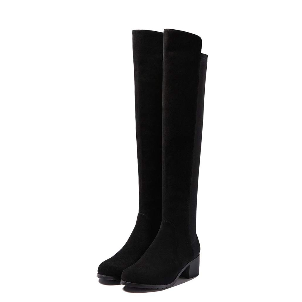 Black cow suede Women Over The Knee Boots Fashion Slip on Winter Elegant Comfortable shoes for Female