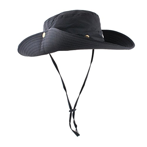 Sun Cowboy Protection (Men's Sun Hat Outdoor Sun Protection Cowboy Boonie Hat Foldable Wide Brim Bucket Hat for Hunting Fishing Safari)