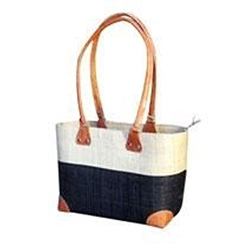 Madagascar Lova Raffia Cream and Black Handbag (Leather Wicker Baskets Handles With Shopping)