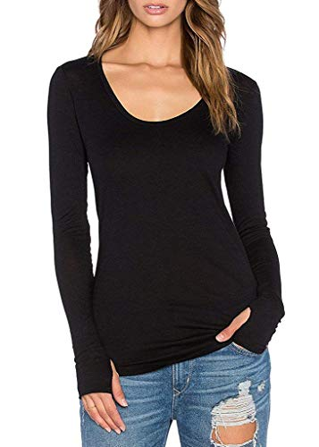 Ssyiz Women's Casual Loose Scoop Neck Long Shirt Long Sleeve with Thumb Holes Medium Black