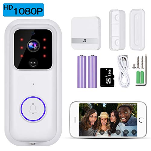 Video Doorbell, 1080P Doorbell Camera with Motion Detection, Wireless Doorbell and Chime, Two-Way Audio, Real Time Notification
