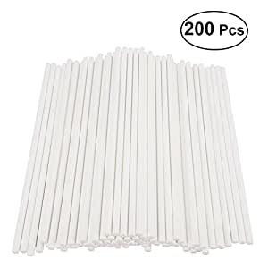 BESTONZON 200pcs Cake Pop Sticks Paper Lollipop Sticks Birthday Party DIY Craft Sticks 15cm - White