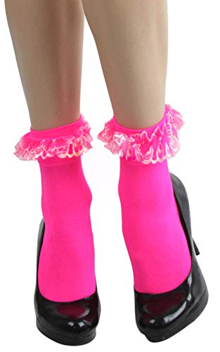 ToBeInStyle Women's Lace Ruffle Opaque Anklet - Hotpink (Ruffle Anklet)
