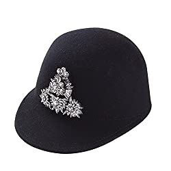 Wool Baseball hat With White Crystal