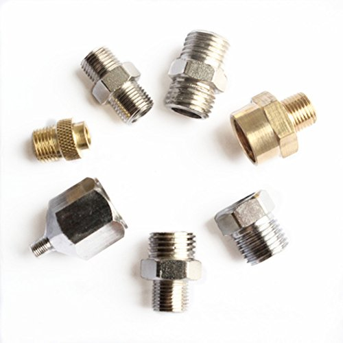 Gocheer Professional 7pcs Airbrush Adaptor Kit Fitting Connector Set for Compressor & Airbrush Hose