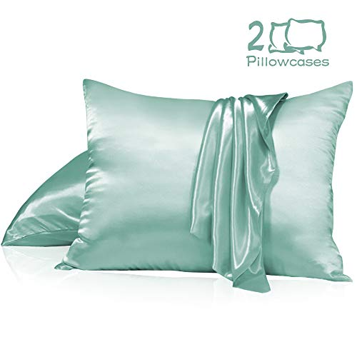 Muama Satin Silk Pillowcase 2 Pack for Hair and Skin with Hidden Zipper Luxury Silky Pillow Case Super Soft and Breathable Pillowcase Covers Queen Size (Green, 20''X30'')