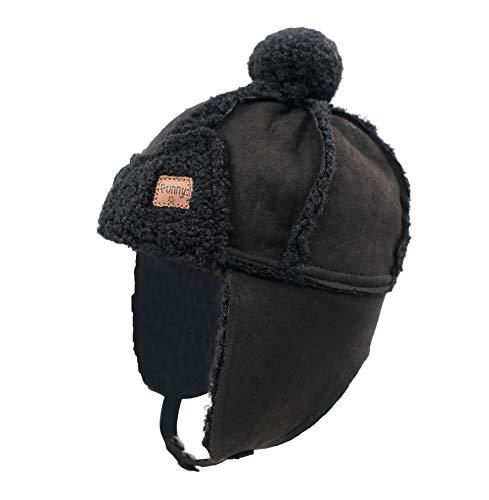 Home Prefer Boys Winter Hat Toddler Kids Sherpa Lined Trapper Trooper Hat Aviator Hat Black
