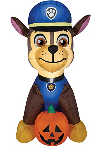 Gemmy Airblown Inflatable Chase From Nick Jr Paw Patrol Sitting With a Pumpkin - Holiday Decoration, 3-foot Tall x 2.5-foot -