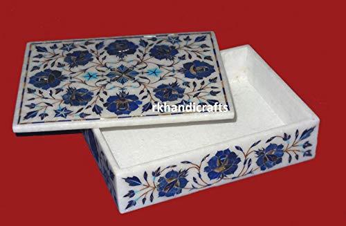 rkhandicrafts 9 x 12 Inches Rectangle Trinket Box Ring Box Multi Use Box Inlay Art Lapis Lazuli with Flower Design Elegant Birthday Gift for Her