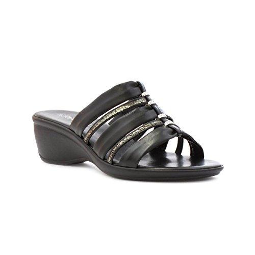 Mule Sandal Womens Schwarz Silberperlen Softlites mit EqOX5