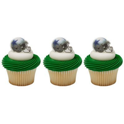 Price comparison product image 24 Dallas Cowboys Football Helmet Cupcake Rings by DecoPac