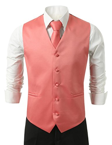 [Brand Q 3pc Men's Dress Vest NeckTie Pocket Square Set for Suit or Tuxedo (Medium, Coral)] (Pink Man Suit)