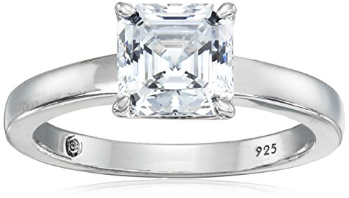 - Platinum-Plated Silver Asscher-Cut (2 cttw) Solitaire Ring made with Swarovski Zirconia, Size 6