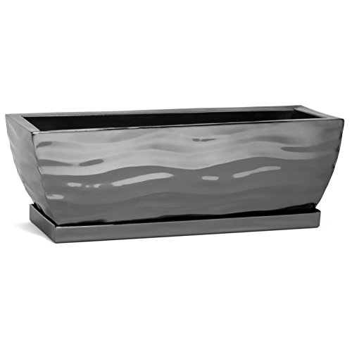 H Potter Planter Rectangular Small Flower Pot Indoor Outdoor Window Box (Black Nickel) 12