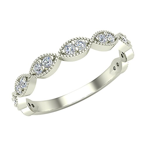 Stacking Infinity Style Round Cut Milgrain Diamond Wedding or Anniversary Band 0.27 carat total weight 14K White Gold (Ring Size 8)