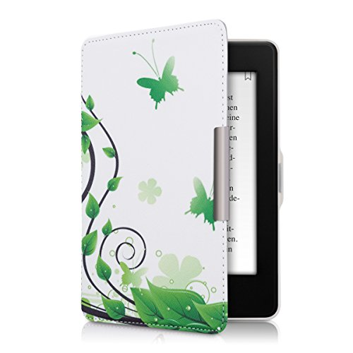 kwmobile Elegant synthetic leather case for the Amazon Kindle Paperwhite Butterfly Leaves in green white by kwmobile