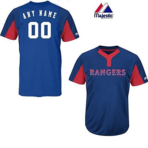 (Majestic CUSTOM Adult 2XL Texas Rangers 2-Button Placket Cool-Base MLB Licensed Jersey)