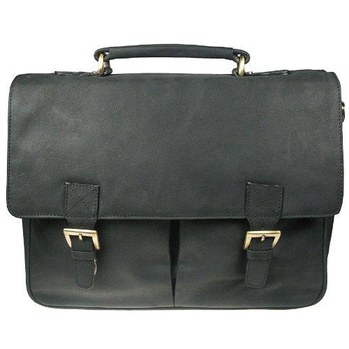 Vitali Distressed Engrasado Cuero Grande para Hombre Messenger bolsa maletín h-065 negro