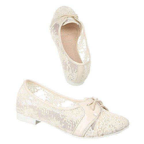 Ital-Design Damen Schuhe, A-103, Halbschuhe Creme