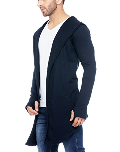 Blend Hooded Long Line Cardigan with Thumb Insert Navy Blue ()