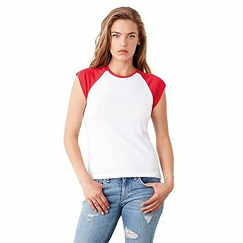 Baby rib cap sleeve contrast raglan t-shirt(White / Red, XL)