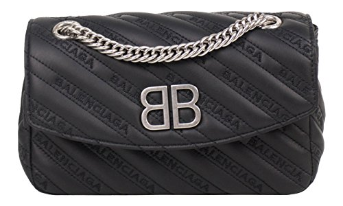 Balenciaga Black Leather BB Round Logo Small Shoulder Bag