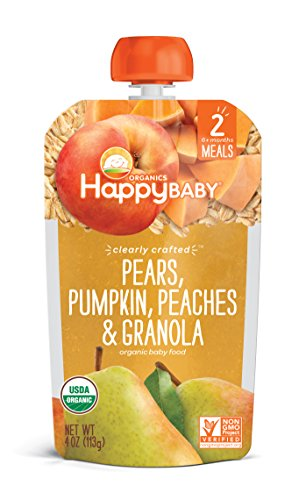Happy Baby Organic Clearly Crafted Stage 2 Baby Food Pears, Pumpkin, Peaches & Granola, 4 Ounce Pouch (Pack of 16)