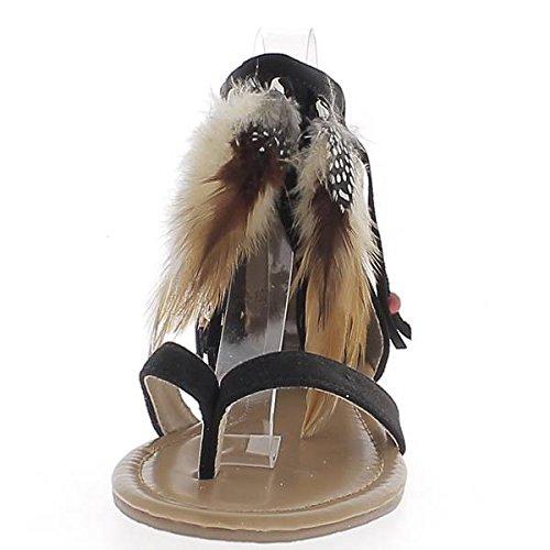 Sandalias planas de miran ante negro con plumas y cuentas franja