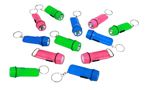 Mini Flashlight Keychain In Pink, Green, And Blue - Pack Of 12 Party Favor Plastic Flashlights