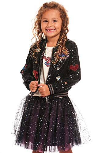 Truly Me Girls' Big Outerwear Bomber Jackets, Black/Multi 7