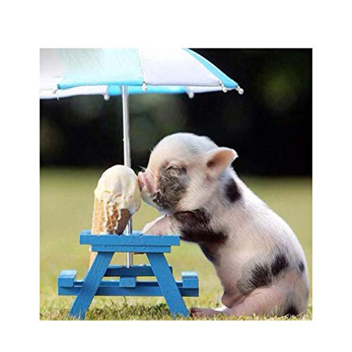 Eat Pig - GloryMM 5D Under Umbrella Pig Eat Ice Cream Pattern Rhinestone Painting Embroidery DIY Full Drill Mosaic Cross Stitch Painting Home Arts Craft Canvas Wall Decor