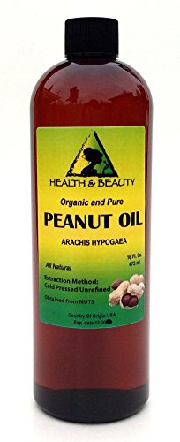 Peanut Oil Unrefined Organic Carrier Cold Pressed Virgin Raw Pure 16 oz