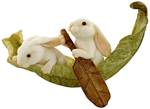 - Top Collection Miniature Fairy Garden and Terrarium Statue, Rabbits Rowing Leaf Boat