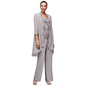 366278aab71 David s Bridal Embroidered Chiffon Pantsuit with High-Low Jacket Style  26456