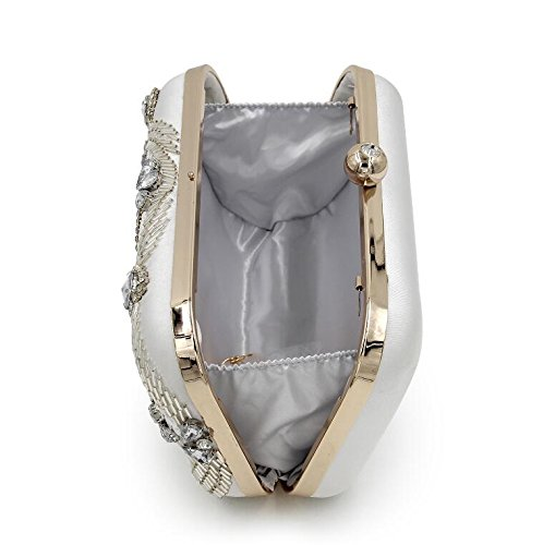 Crystal Beaded Purses Silver Women NBWE Stylish Handbag for Clutch Evening Party Bridal Bag 00FXTq