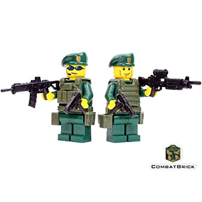 CombatBrick Green Berets 2 Men Patrol Pack - Custom Army Builder Minifigures lot: Toys & Games