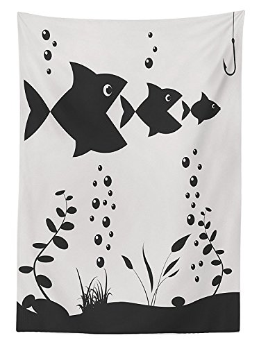 Fishing Decor Tablecloth Big Fish Eats Little Themed Image with Tree Fish in a Row Bubbles Coral Reef Dining Room Kitchen Rectangular Table Cover Grey Beige (Coffee Coral Table Reef)