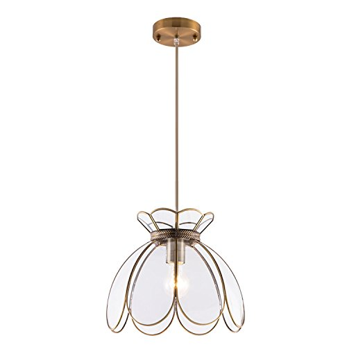 Vintage Brass Chandelier - YIFI Vintage Lotus Flower One Light Pendant Lighting in Bronze and Glass Oriental Mini Chandeliers Antique Brass Ceiling Light Fixture for Kitchen Island Dining Room Bedroom Living Room, Clear