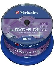 Verbatim DVD+R DL 8,5GB 8X Spindel. 50 Stuk Mat zilver.