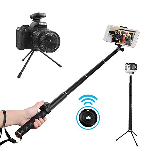 maono au z04 bluetooth selfie stick tripod with gopro mounting dslr 1 4 screw for iphone x 8. Black Bedroom Furniture Sets. Home Design Ideas