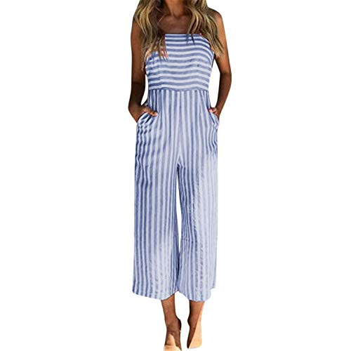 (Thenxin Summer Jumpsuit for Women Striped High Waist Wide Leg Cami Straps Tie Knot Back Playsuit (Blue,XL)