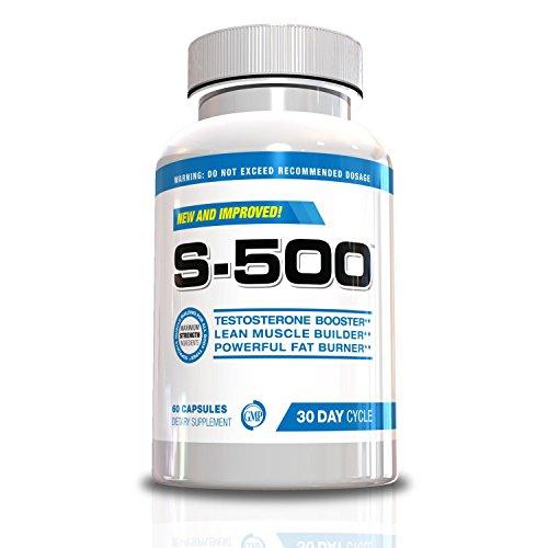 Testostérone Fat Burner Hommes-S-500 All In One Ultra concentré Muscle Builder, Pré Work Out, Supplément d'oxyde nitrique, Fat Burner, pilules d'énergie, Supplément de perte de poids, 60 capsules, Cycle Jour 30, Look Great, se sentir bien aujourd'hui