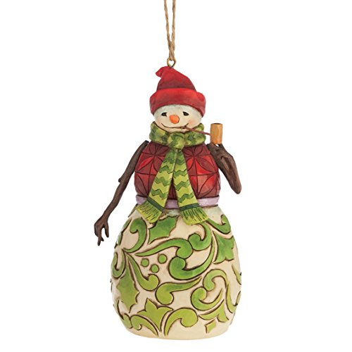 (Jim Shore for Enesco Heartwood Creek Red and Green Snowman Ornament, 4.75