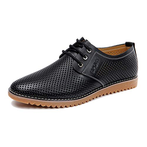 (Moodeng Men`s Causal Breathable Loafers Classic Flats Shoes Lace Up Urban Fashion Sneakers)